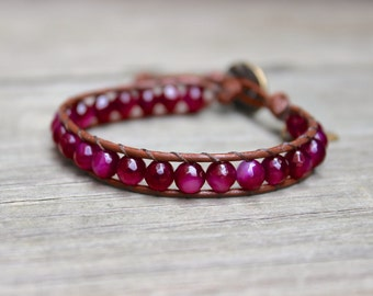 ON SALE! Beaded Leather Single Wrap Stackable Bracelet with Magenta Garnet Red Agate Beads on Genuine Saddle Brown Leather