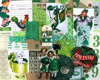 Green Inspiration Kit*Vintage St Patrick's Day*Green Paper Ephemera Pack*Luck of the Irish