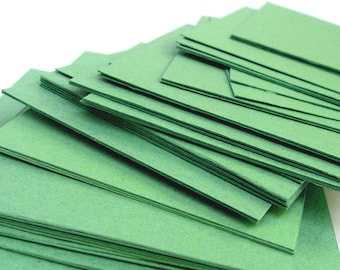 Green handmade paper cardstock, cut edges, recycled, 10 small sheets,  4.25 x 5.5 inch