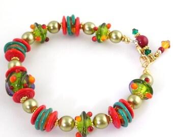 Fiesta Colors Beaded Lampwork Bracelet, Lampwork Jewelry, Glass Beads Bracelet, Gifts, Fashion Jewelry