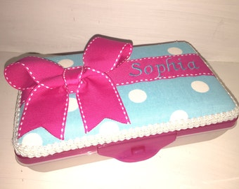 Personalized Aqua And White Polka Dot Pencil Box / Pencil Case With Pink Ribbon And Bow.