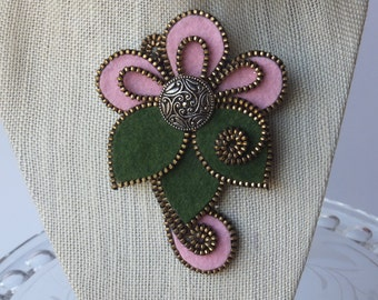 Felt Flowe Zipper Brooch (For Coat/Jacket/Hat )