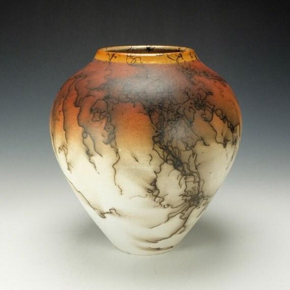 Horse Hair Raku Pottery Vase, orange, black, cream and white.  Ready to ship.