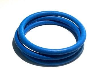 3 Blue Wood Bangles
