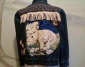 Vintage Bedazzled Fringe Jean Jacket Polar Bear Back Patch