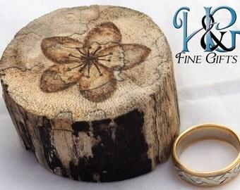 "Cherry blossom rustic ring box 1 3/8"" chamber keepsake in driftwood, ring bearer box, wedding ring box, engagement ring, ring bearer pillow"