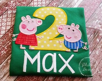 Peppa & George Pig Birthday Custom Tee Shirt - Customizable -  Infant to Youth 279