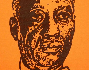 "Hand carved hand printed ""Leadbelly"" t-shirt"