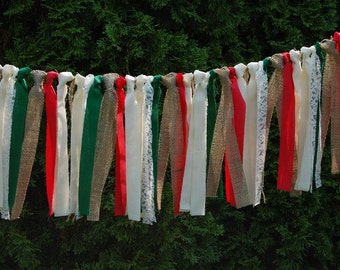 Burlap Christmas Garland - Rustic - Christmas Banner - Christmas Wedding Garland - Photo Prop