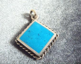 Sterling Silver Diamond Shape Turquoise Pendant P59