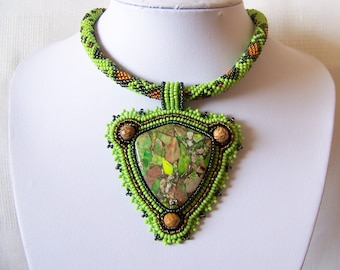 Bead Embroidery Statement Beadwork Pendant Necklace with Green sea sediment jasper - Green Land - green, dark green, brown - big pendant