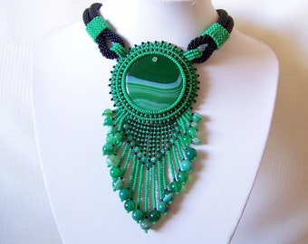 Bead Embroidery Necklace Pendant Beadwork Necklace with Agate - GREEN LIFE - green and black necklace - statement necklace - Agate necklace
