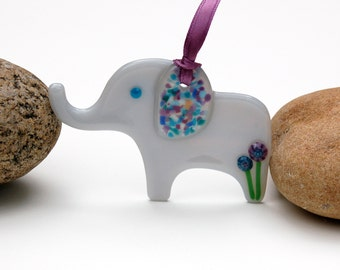 Fused Glass Elephant Ornament