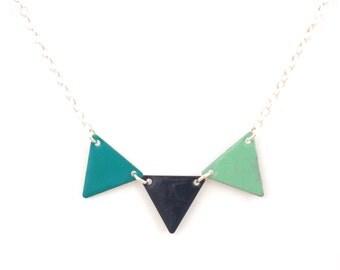 "Necklace ""indigo blue pennant marine aqua"""