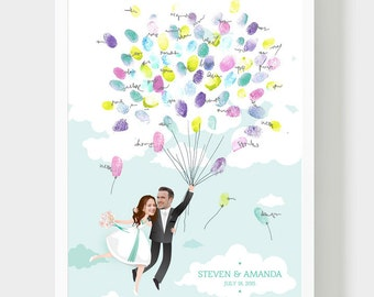 Bride and Groom Collage Guestbook, Alternative Wedding book, Thumbprint Baloons, Wedding fingerprint guestbook, Wedding Customized Gift, PDF