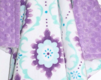 On Sale!**Lilac Flourish Minky Baby Blanket-Baby Girl Blanket-Baby-Double Minky Blanket