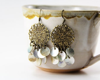 Shell Chandelier Earrings with Antiqued Brass Medallions