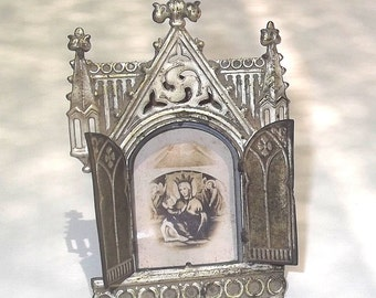 SALE Antique Travel Shrine or Altar, Trifold Metal Shrine, Authentic Miniature Religious Triptych