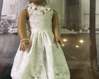 American Girl style dainty First Communion 5 piece  ensemble.