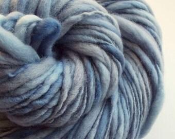 Pastel blue thick and thin yarn, chunky merino knitting wool, denim blues big knitting wool