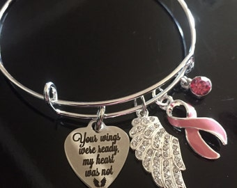 Memorial Bracelet - Breast Cancer Awareness / Pink Ribbon Charm - Adjustable / Angel Wing Charm / Memory Charms