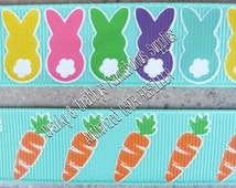 "7/8"" Hunting Carats  Bunny Butts and Carrots  - US Designer Printed Ribbon - 1yd, 3yd or 5 yd - Diamond - Bling"
