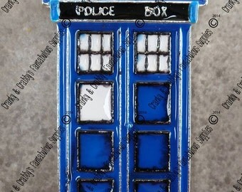 CUSTOM Space Inspired  Doctor - Enameled -  Chunky Necklaces - 54mm x 29mm Dr Who Police Booth  box call box