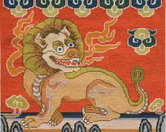 Chinese Lion Military Rank Badge Tapestry Download