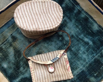 Early brown ticking made into Doll treasures oval box and purse