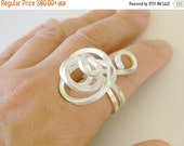 ON SALE Sterling Silver statement ring, silver spiral ring, sterling silver cocktail ring, swirl ring, wire wrapped ring, silver ring free f