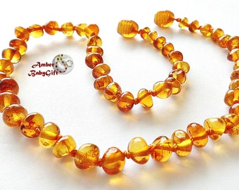 Amber Teething Necklace - Polished Baltic Amber - Cognac Beads - Baby, Children Jewelry - Screw or Safety clasp - Choose Your Length, K-11