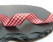 Light Red Small Check Gingham Ribbon 15mm Berisfords - 1