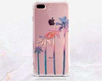 iPhone 7 Case Cali Palm Trees Clear Rubber Case iPhone 7 Plus Case iPhone 6 Case iPhone 6S Case iPhone SE Case Samsung S7 Edge Case U18