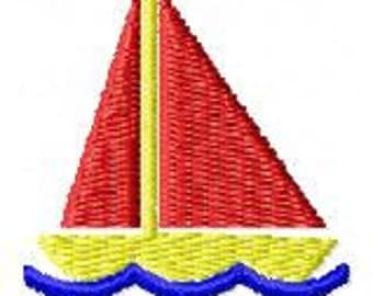Sailboat machine embroidery design 2 inch instant download