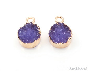 Round Amethyst Druzy Charm in Gold - 2pcs of Purple Drusy / 12mm / SPUG113-P