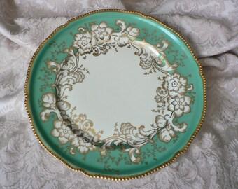 Rosenthal Green Gold Floral Beaded Rim Dinner Plate