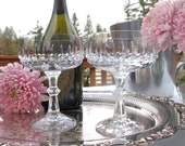 Crystal Champagne Coupe Glasses Saucers Pair|  Bride and Groom Wedding Toasting Glasses Set of 2