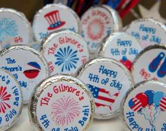 4th of July Decorations - Personalized 4th of July Hershey Kiss Stickers - 4th of July Party Favors - 4th of July Favors - Decor