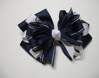 Large Back to School Hair Bow Toddler to Big Girl Boutique Uniform Navy and White
