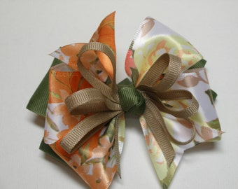 Moss Olive Green Hair Bow Boutique Floral 4 inch Hair Bow