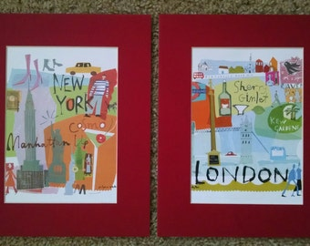 A Set of Two Red Framing Mats with Fun City Life Images