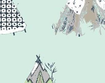 Gansu Village in Mintglow - Pandalicious collection - Art Gallery Fabrics - Fat Quarter, Half Yard, or More