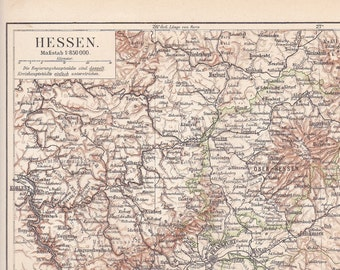 1895 Territory of Hesse-Darmstadt, German Empire at the end of the 19th Century Antique Map