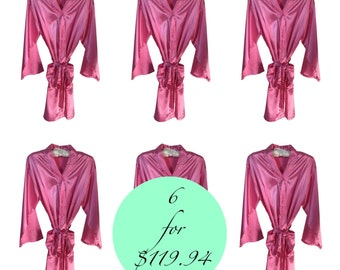 6 Pink Satin Robes, Personalized Wedding Robes, Bridesmaid Robes, Bridesmaid Gift, Pink Kimono Robes, Wedding Satin Robes, Pink Robes