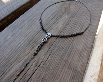 modern tribal boho oxidized silver necklace. choker. geometric .