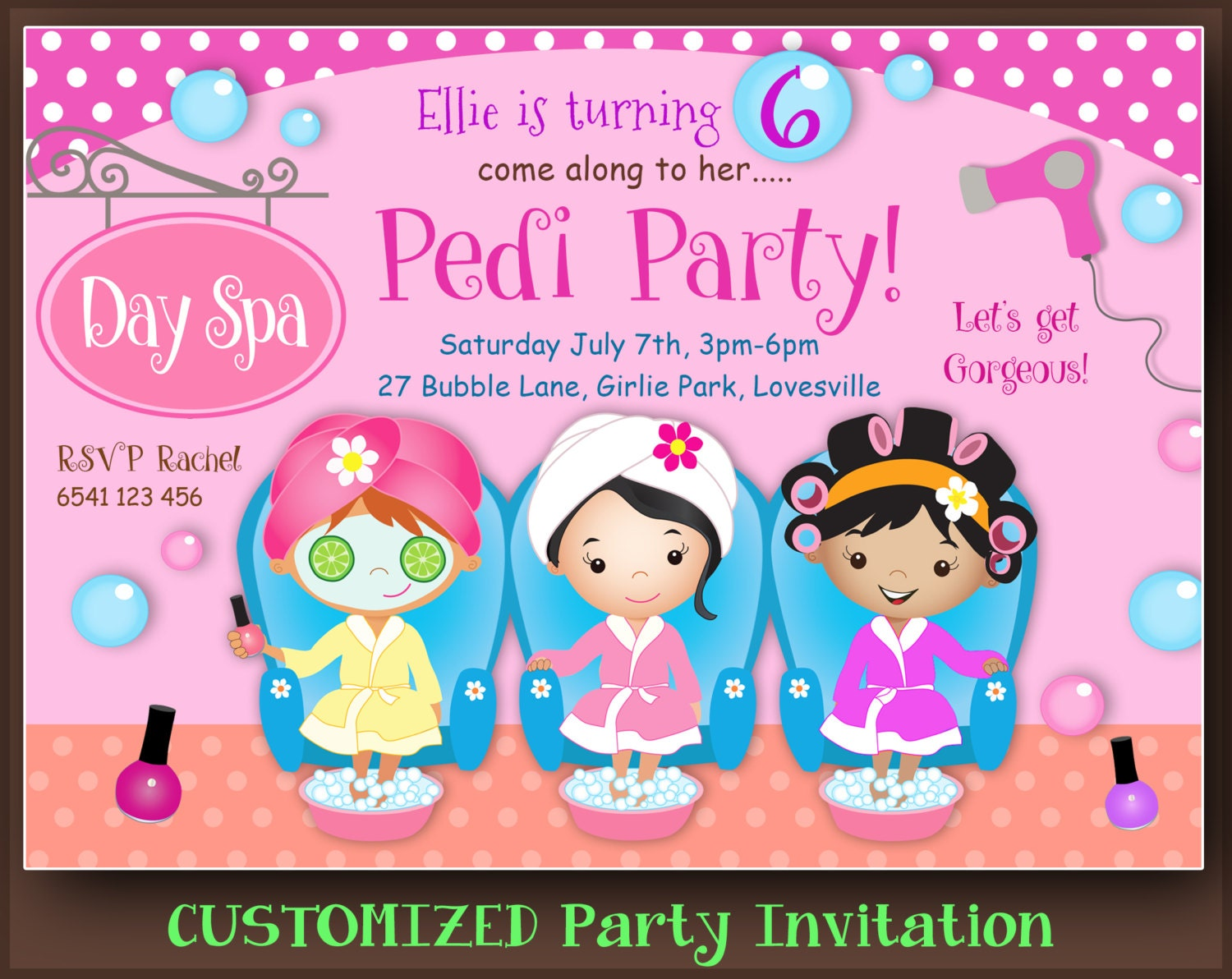 CUSTOMIZED Spa Party Invitation Pamper Party Pedicure Party