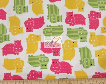 Urban Zoologie Hippos White By Robert Kaufman 100% Cotton Fabric By The Yard (FH-2614) Clothing Decor Garments Animals