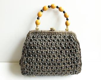 Vintage Brown Raffia and Bead Handbag, Made in Italy, Designer Walborg, Circa 1960's