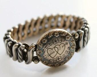 Vintage Sweetheart Expansion Bracelet, Double Hearts, Carmen The DFB Co, Circa 1940's