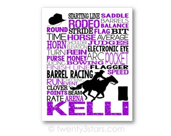 Barrel Racing Typography Art Print, Room Art, Choose Any Colors, Gift for any Rodeo lover, Barrel Racer, Horse Racing Jockey